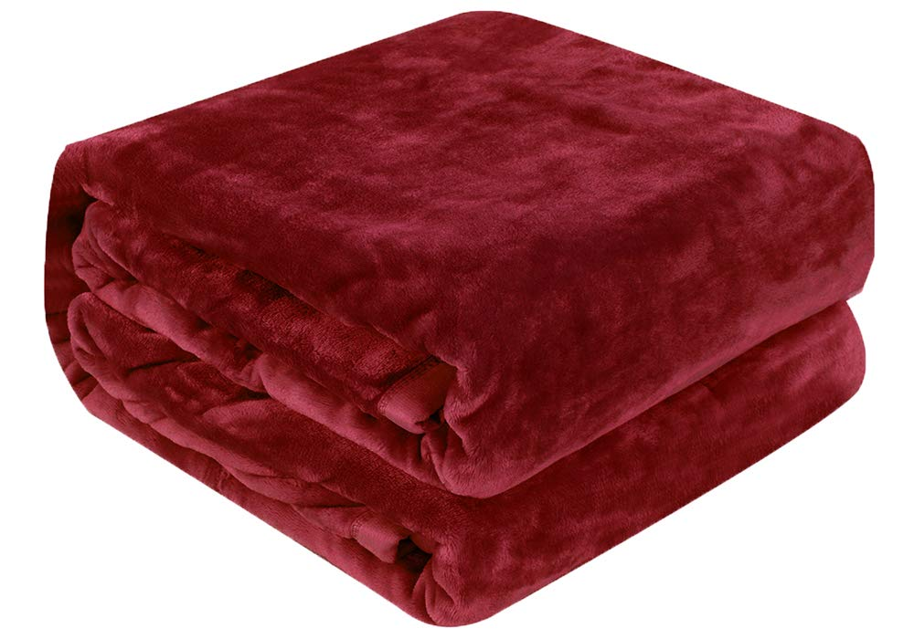 Luxury Collection Microplush Flannel Fleece Blanket | Ultra Soft 380 GSM Lightweight All-Season Anti-Static Throw/Blanket for Sofa Couch Bed (Queen (78'' x 90''), Burgundy)