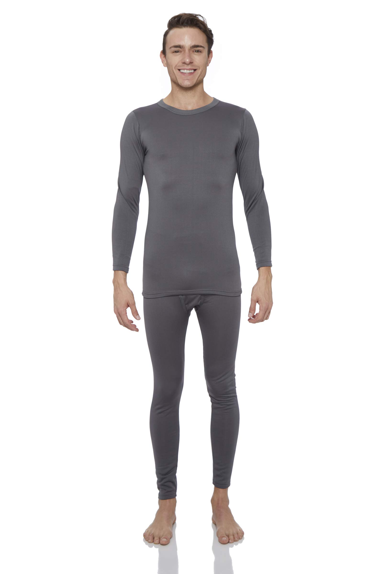 ROCKY Thermal Underwear for Men Fleece Lined Thermals Mens Base Layer Long John Set Grey