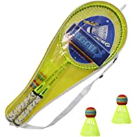 GDCB 1 Juego de bádminton para niños con Raqueta para niños Juego de bádminton para niños con 2 Raquetas para niños, 2 Bolas de bádminton Coloridas para prácticas de Entrenamiento para niños