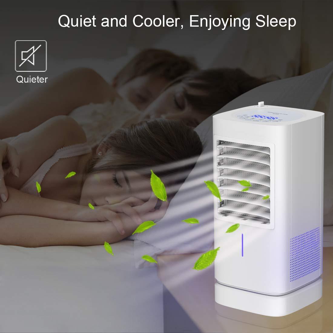 Multifunktionaler Air Cooler Klimaanlagee,Moving Desktop Cooling Fan mit Timer//Licht f/ür Home Office Schlafzimmer