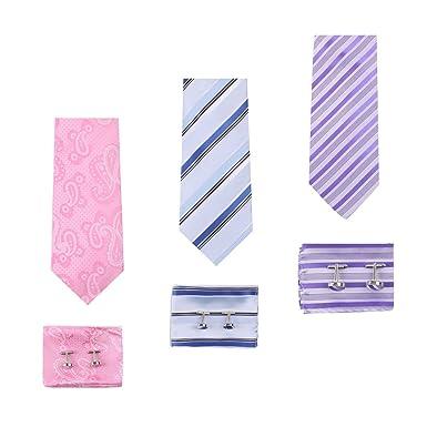 EAUF0009 Descuento de rayas de seda corbata mancuernas mancuernas ...