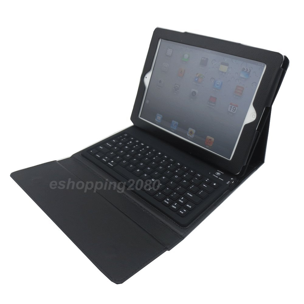 Henxlco Wireless Bluetooth Keyboard w/ Stand PU Leather Case Cover For Apple iPad 4 3 2 (black)