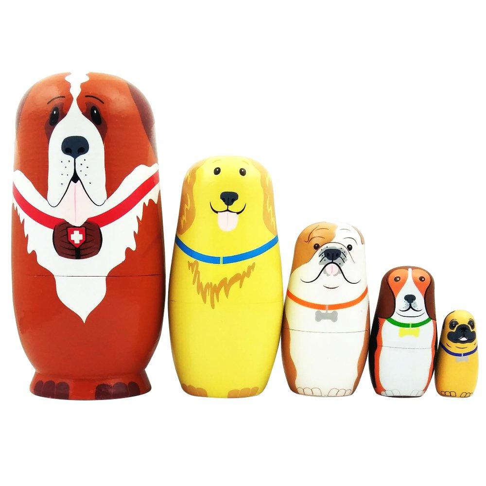 5pcs Cute Dog Nesting Dolls Handmade Wooden Russian Matryoshka Wishing Dolls Birthday for Kids Decoration