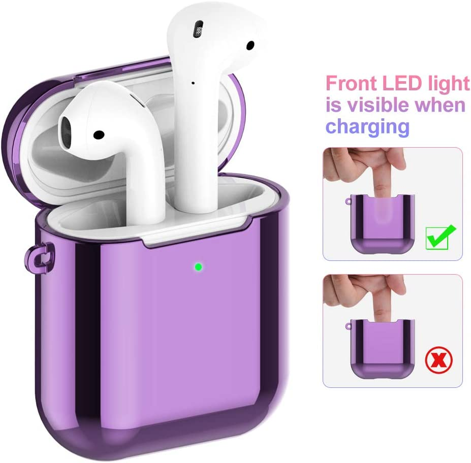 Soft TPU Plated Case Shockproof Protective Cover Compatible with Apple AirPods /& AirPods 2019 Charging Case 1st and 2nd Gen Front LED Visible red REFLYING Case Compatible for AirPods