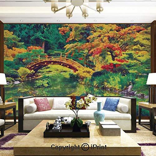 Lionpapa_mural Self-Adhesive Large Wallpaper Better Designs for Living Room,Fairy Image of a Japanese Garden with an Old Ancient Bridge Over The Lake Nature Print,Home Decor - 66x96 inches