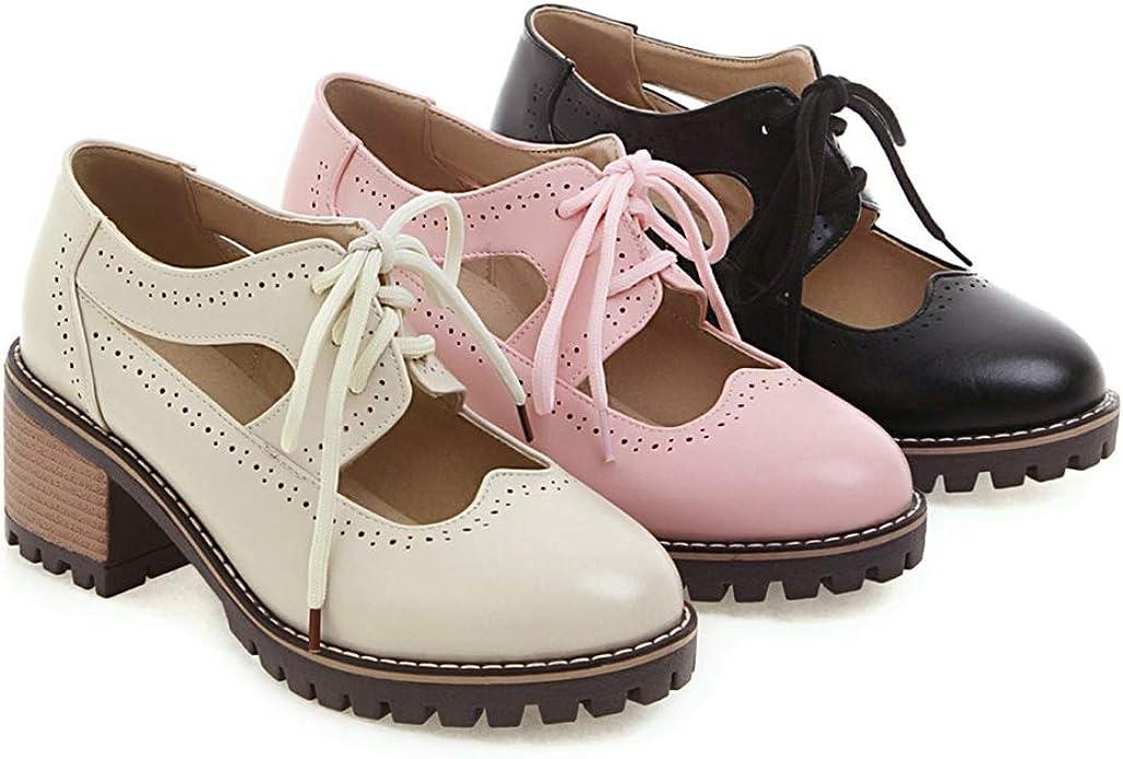 Ladies Flat Lace Up Smart Vintage Oxford Brogues Pumps Womens Shoes Size 3-8