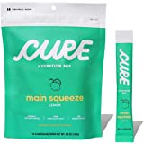 Cure Hydration Mix | Natural Electrolytes | No Added Sugar | Made with Organic Coconut Water | Pack of 14 (Lemon)