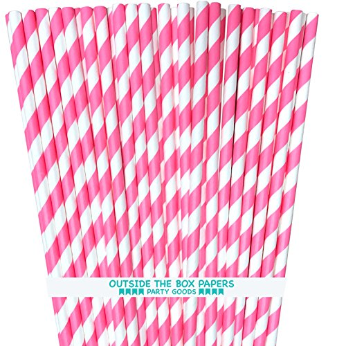 Striped Paper Straws - Pink White - 7.75 Inches - Pack of 100 - Outside the Box Papers Brand