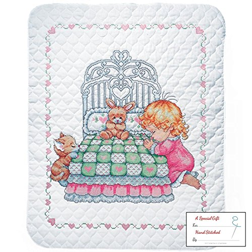 Tobin Bedtime Prayer Girl Baby Quilt - Stamped Cross Stitch Kit T21709 - 36 by 43 inches - with Gift Card
