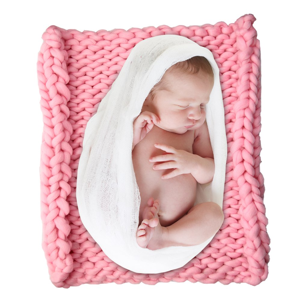 "outlet ICOSY Chunky Knit Blanket Newborn Knit Blanket Yoga Bulky Knitted Baby Shower Gift Pet Bed Chair Sofa Pad Baby Photo Prop Mat Rug Throw 20""x20"""