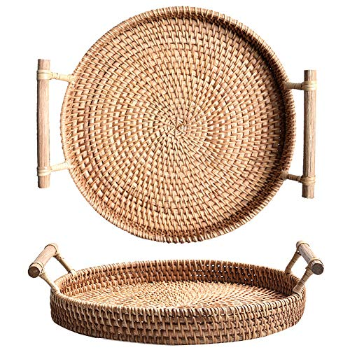 Woven Large Round Tray - Rattan Serving Tray Platter Round Bread Serving Basket Vintage Style Woven Food Serving Tray with Wooden Handle for Breakfast Bed Bar Dinner Parties ,9.5inch
