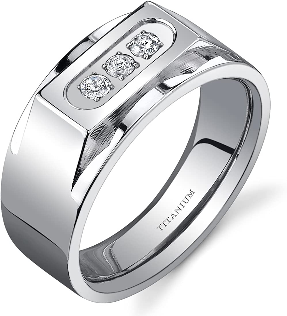 Peora Bold Mens Titanium 3 Stone 10 mm Ring Available Size 8 to 13