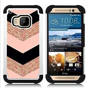 """HTC One M9 /M9s / One Hima - 3 en 1 impreso colorido de Altas Prestaciones PC Funda chaqueta Negro cubierta gel silicona suave (Modelo de Chevron vestido de la manera del brillo del oro"""")"""