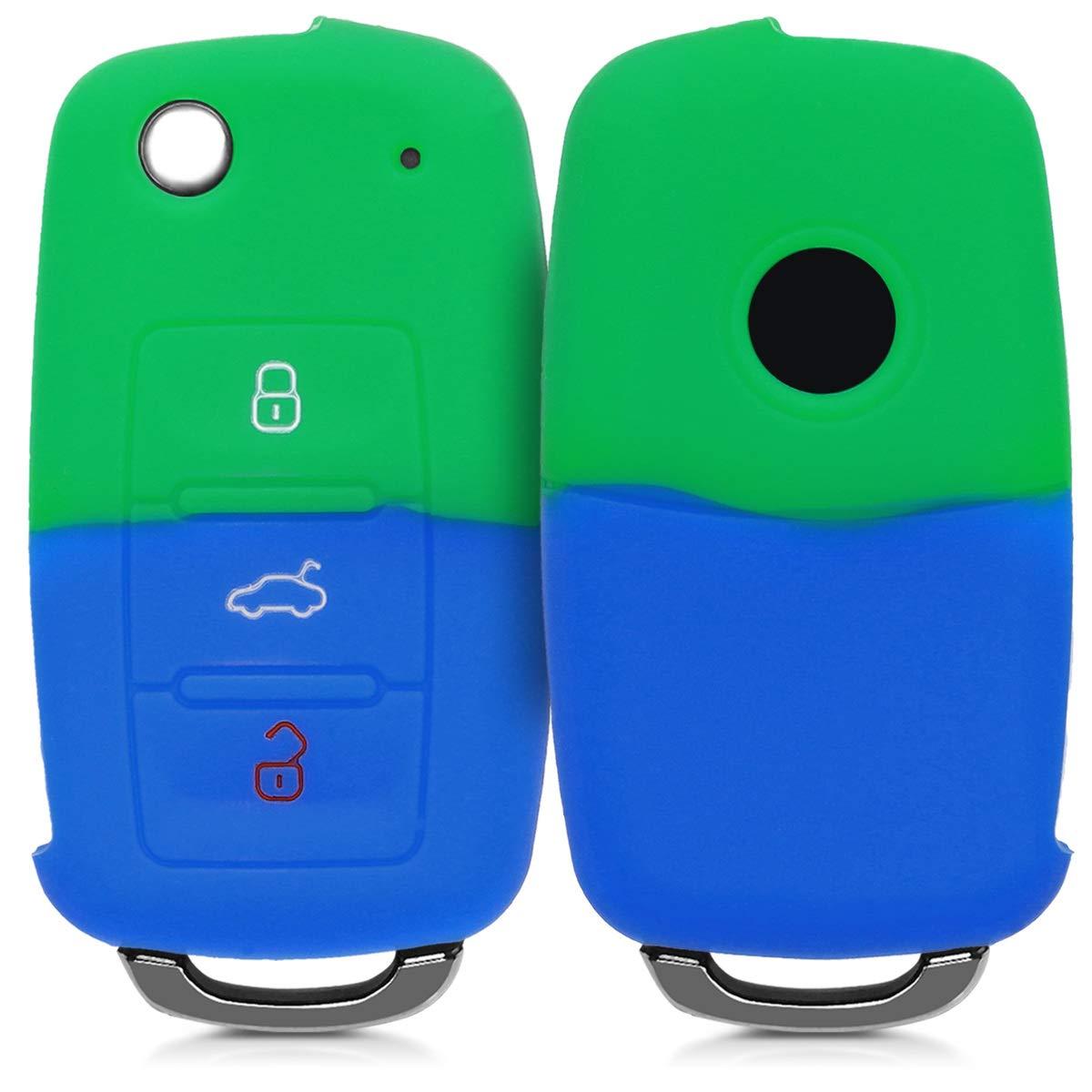 /Étui de Protection Souple kwmobile Accessoire cl/é de Voiture pour VW Skoda Seat Coque pour Clef de Voiture VW Skoda Seat 3-Bouton en Silicone Noir-Jaune-Blanc