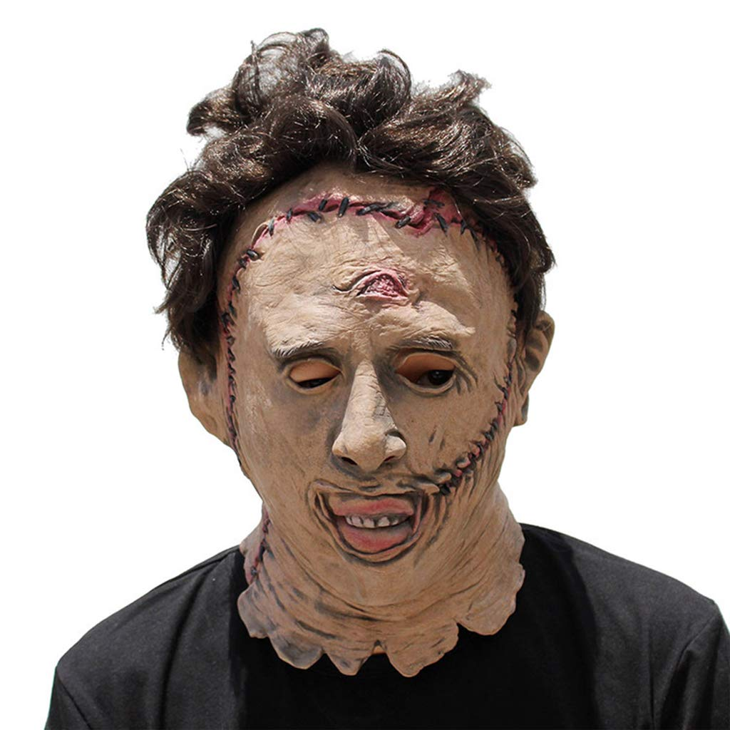 Mask Deluxe Terror Creativity Mask Homicidal Maniac Head Chain Saw Face Head Mask for Funny Halloween Costume Accessories