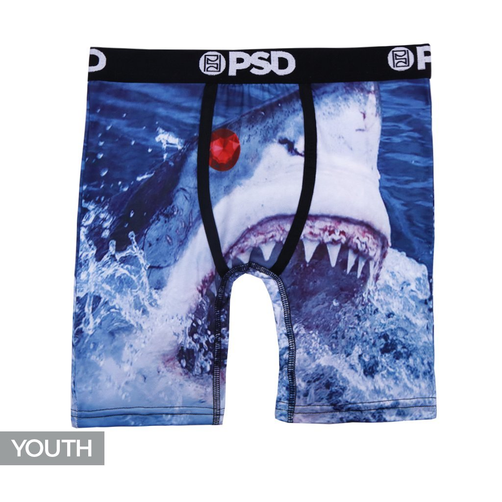PSD Underwear Youth Youth Shark Week Athletic Boxer Brief, Blue Y11821017-P