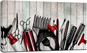 Biuteawal - Barber Shop Wall Art Fashion Hair Cut Tools on Old Wooden Board Picture Prints Artwork Vintage Picture Salon Beauty Decorative Canvas Prints Wall Decor Framed and Stretched Easy Hanging