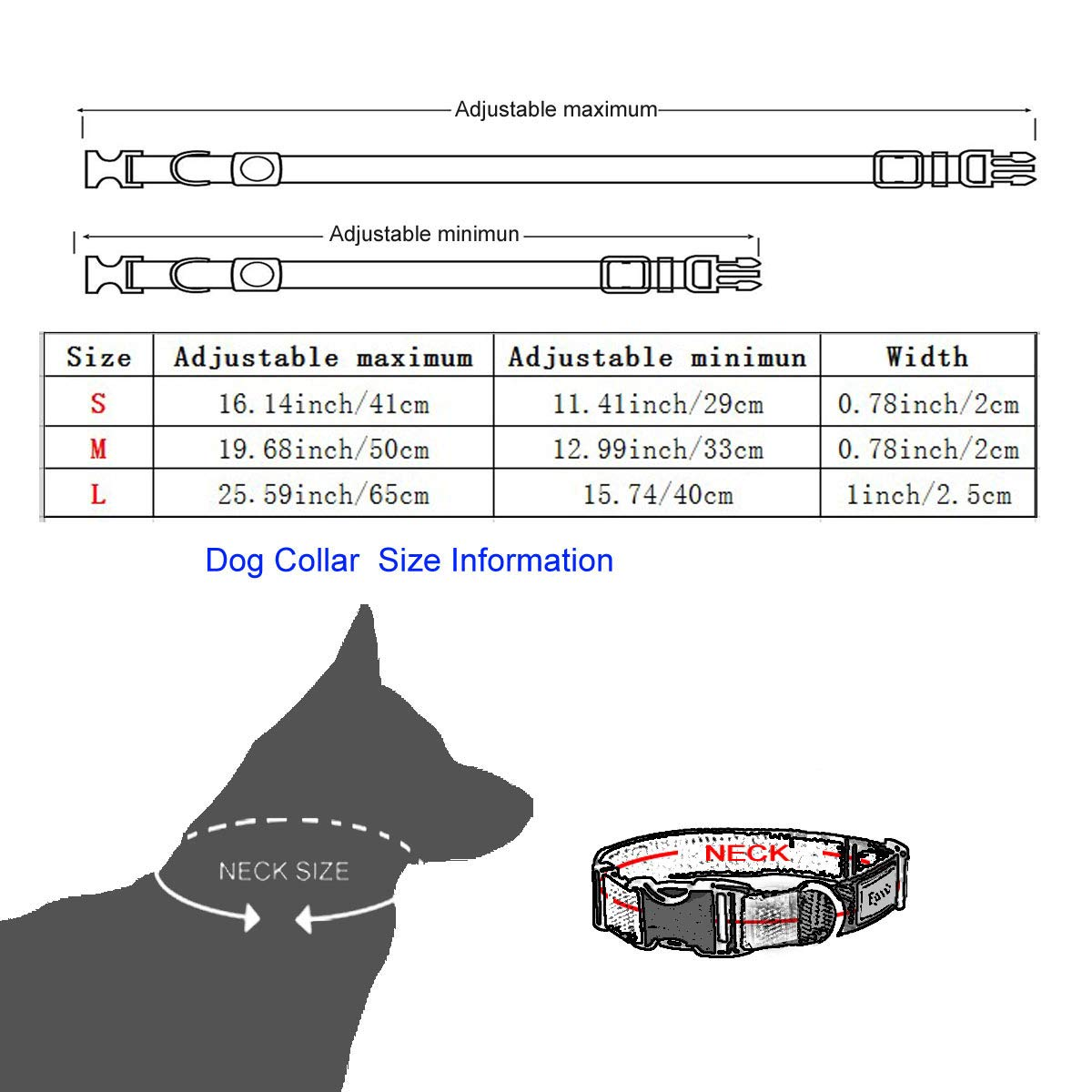 Egoola Night Reflective Dog Collar Adjustable Pet Collars with Small Medium Large