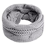 Scarves Unisex Winter Cable Knitted Round Circle Couples Scarf Wraps Ligth Grey