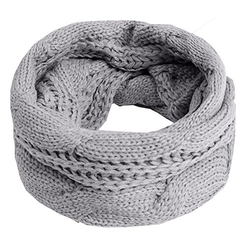 Scarves Unisex Winter Cable Knitted Round Circle Couples Scarf Wraps Ligth Grey by Chocy