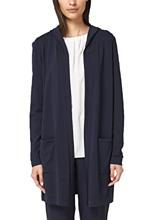 s.Oliver BLACK LABEL Damen Longcardigan mit Kapuze True Blue