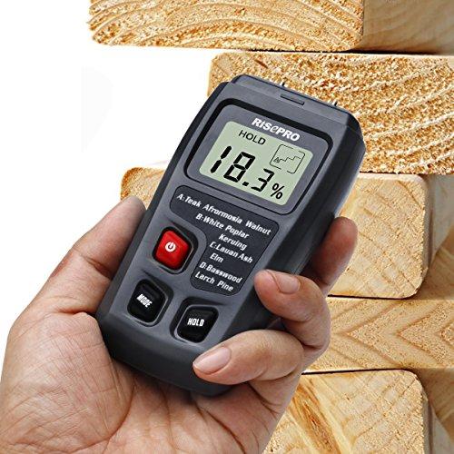 Wood Moisture Meter, RISEPRO Digital Moisture Meter 2 pins Wood Moisture Tester Water Content MT-10 (Elm Stove Wood)