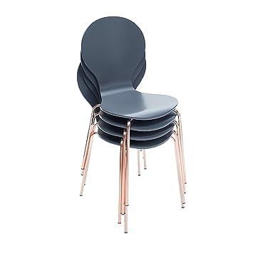 4er Set Design Stuhl Form Designklassiker Aus Hochwertigem Formholz Anthrazit Kupfer Stapelbar Esszimmerstuhl Retro Kuche Esszimmer Besucherstuhl