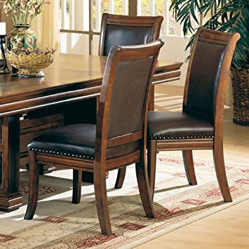 Set of 2 Old West Style Solid Wood Dining Chairs w/Leather Seat