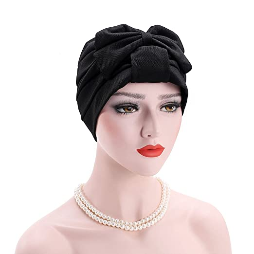 a36e61f1033 Image Unavailable. Image not available for. Color  Bowknot Muslim Hijab Cap  Stretch Chemo Turban Hat Women ...