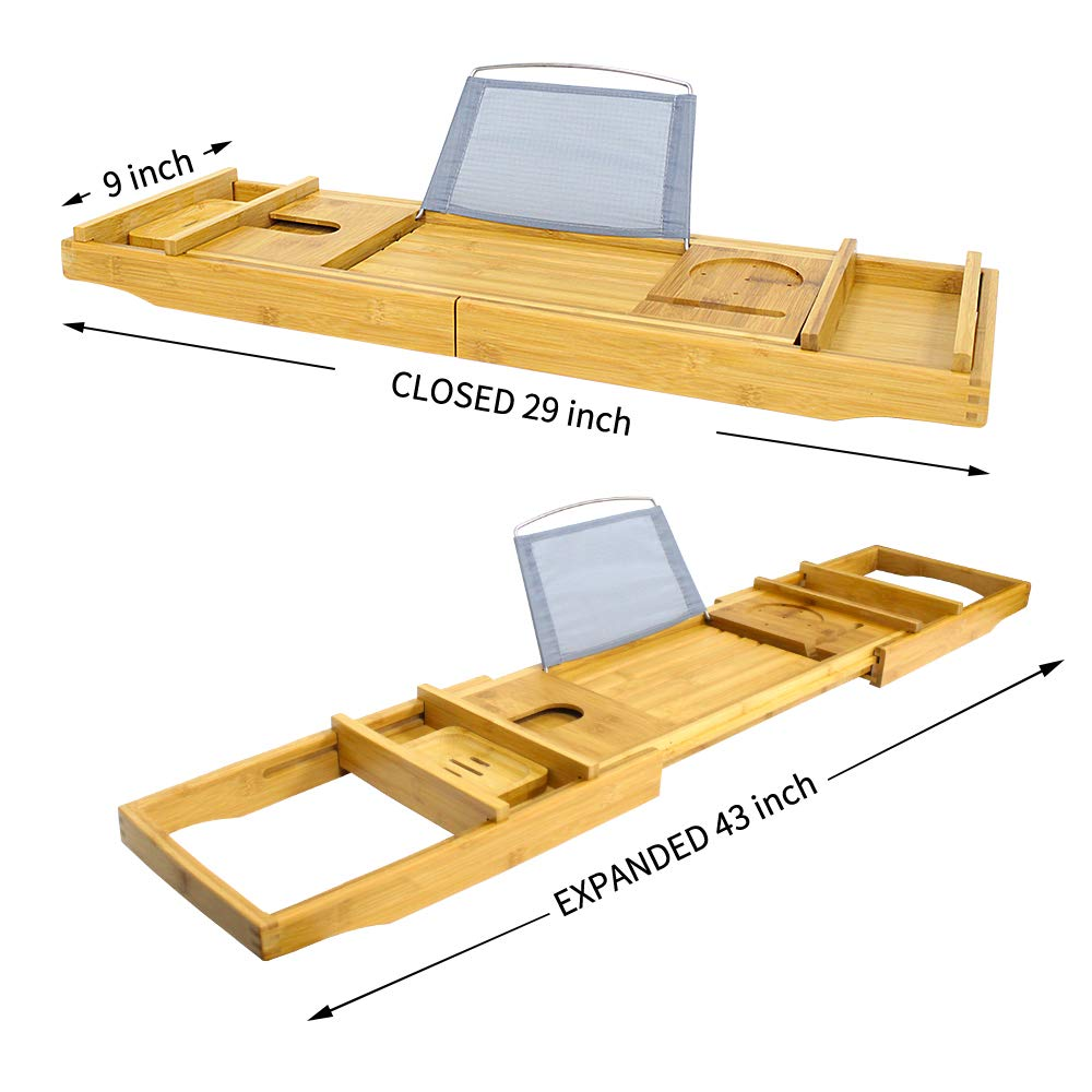 G-LEAF Bamboo Bathtub Tray Caddy with Wine Glass Holder//Adjustable Reading Rack