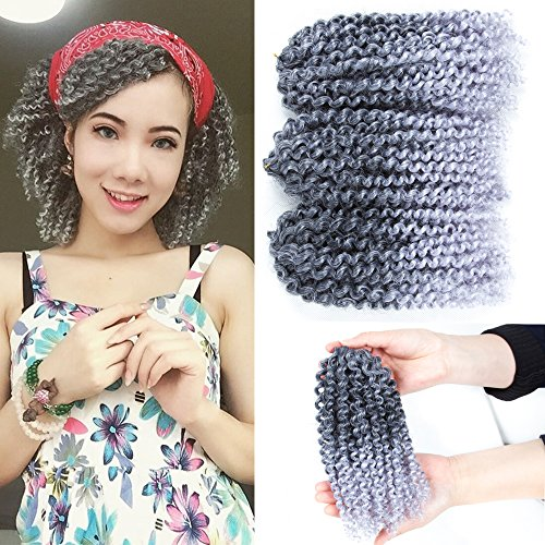 Price comparison product image Afro Twist Hair Marley Hair Braiding Crochet Hair 6 Packs/Lot Short Curly Synthetic Marlybob Braiding Hair Extensions (8inch 1B/Silver Gray)