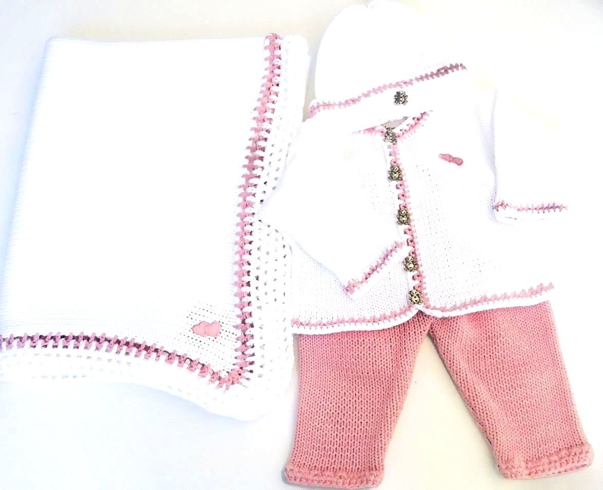 White Cotton Pink Trim Cardigan Pant Hat Set Matching Blanket (0-6mo)