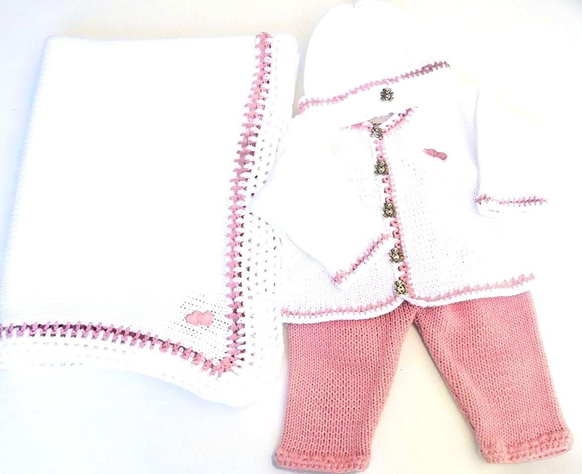 White Cotton Pink Trim Cardigan Pant Hat Set Matching Blanket (0-6mo) by Gita