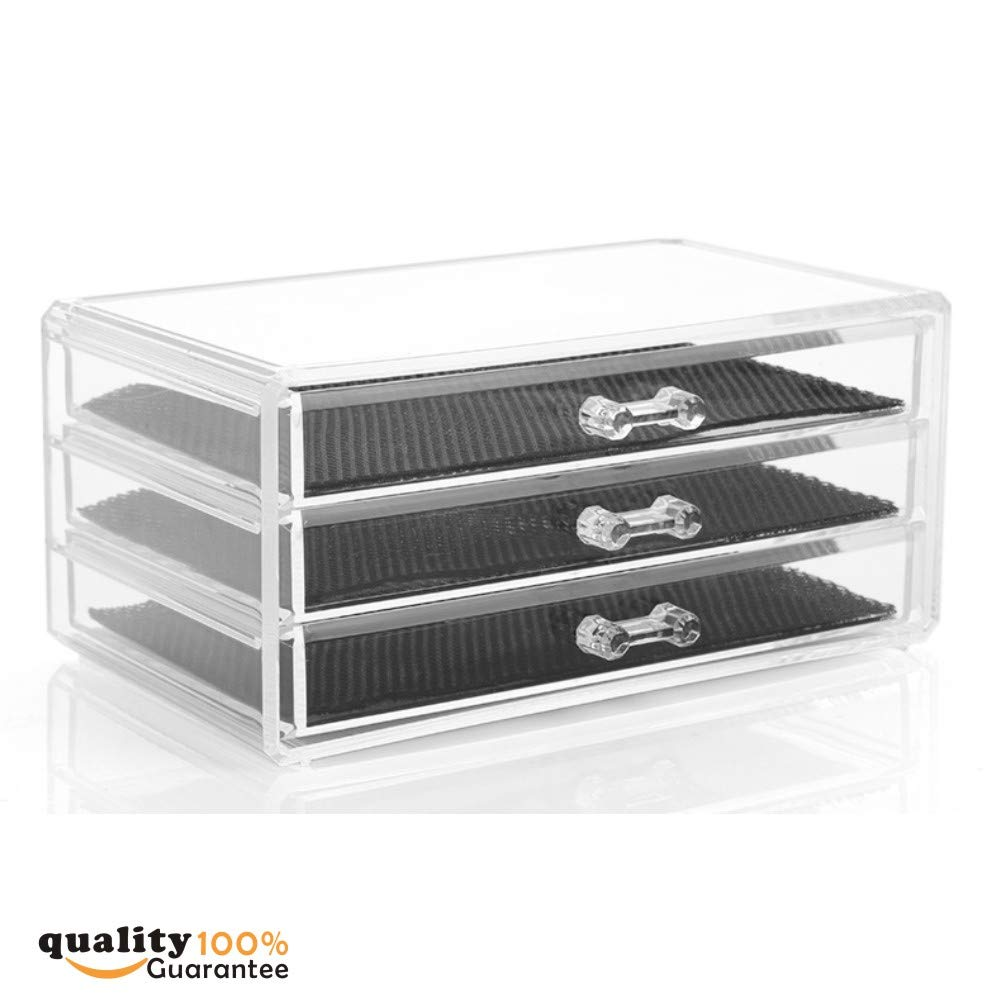 PMLAND Acrylic Jewelry Organizer, Arranges Makeup and Accessories, 3 Drawers Cosmetic Storage Display Box