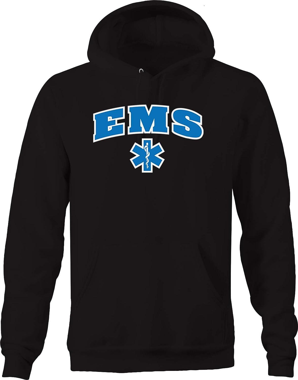 Lifestyle Graphix EMS Emblem Emergency Medical Services Hospital Paramedic Hoodies for Men