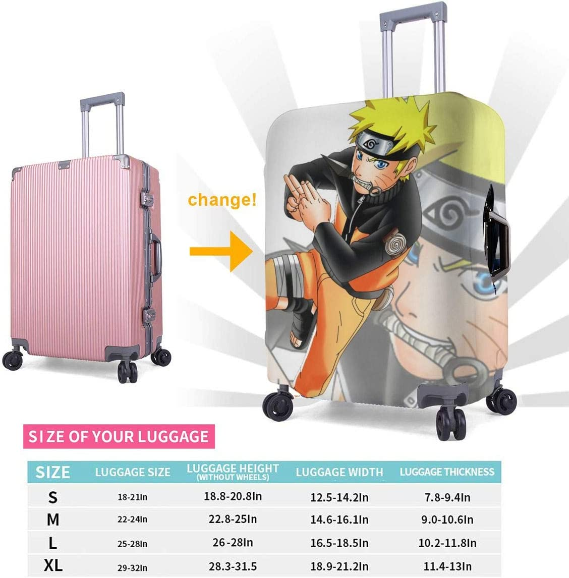 Suitcase Cover Anime Naruto Travel Luggage Covers Suitcase Protector Washable Baggage Cover XL