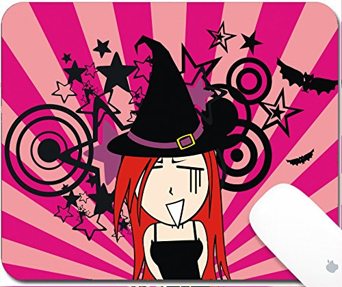 Luxlady Mouse Pad Natural Rubber Mousepad 9.25in X 7.25in IMAGE: 30713248 cute witch girl cartoon halloween background in vector format very easy to edit (Halloween Clipart Witch)