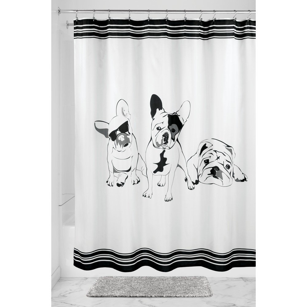InterDesign SophistiCat Fabric Shower Curtain, Polyester Shower Curtain, Black/White 47920