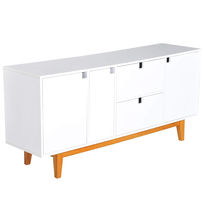 Amazon Com Homcom 57 Two Tone Contemporary Sideboard Buffet Table