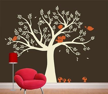 Amazon.com: Squirrel Nursery Tree Wall Decal Art Decor- Wall Art ...
