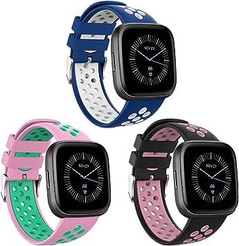 Onedream Compatible para Fitbit Versa/Versa Lite/Versa 2 Correa Hombre Mujer, Silicona Reemplazo Deportivo Compatible para Fitbit Versa/Versa 2/ Versa Lite/Versa Edición Especial 3 Pack: Amazon.es: Deportes y aire libre