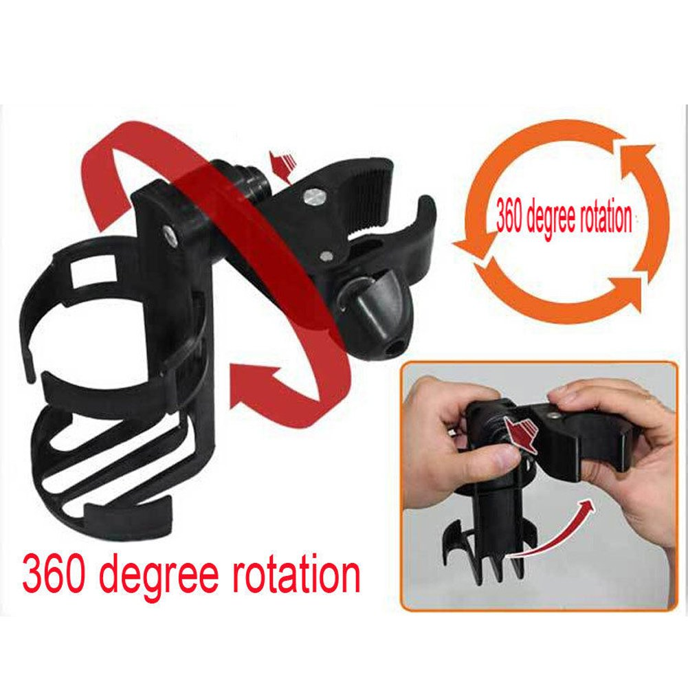 MFSSH Stroller Bottle Holders, Universal Cup Holder, Stroller Cup Holder, 360 Degrees Rotation, Can Be Clamped on The Steel Tube of The Baby Carriage,3PACKS by MFSSH (Image #4)