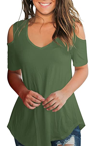 d6a4215e594874 T Shirt Short Sleeve for Women Deep V Neck Tops Cold Shoulder Tshirt Army  Green S