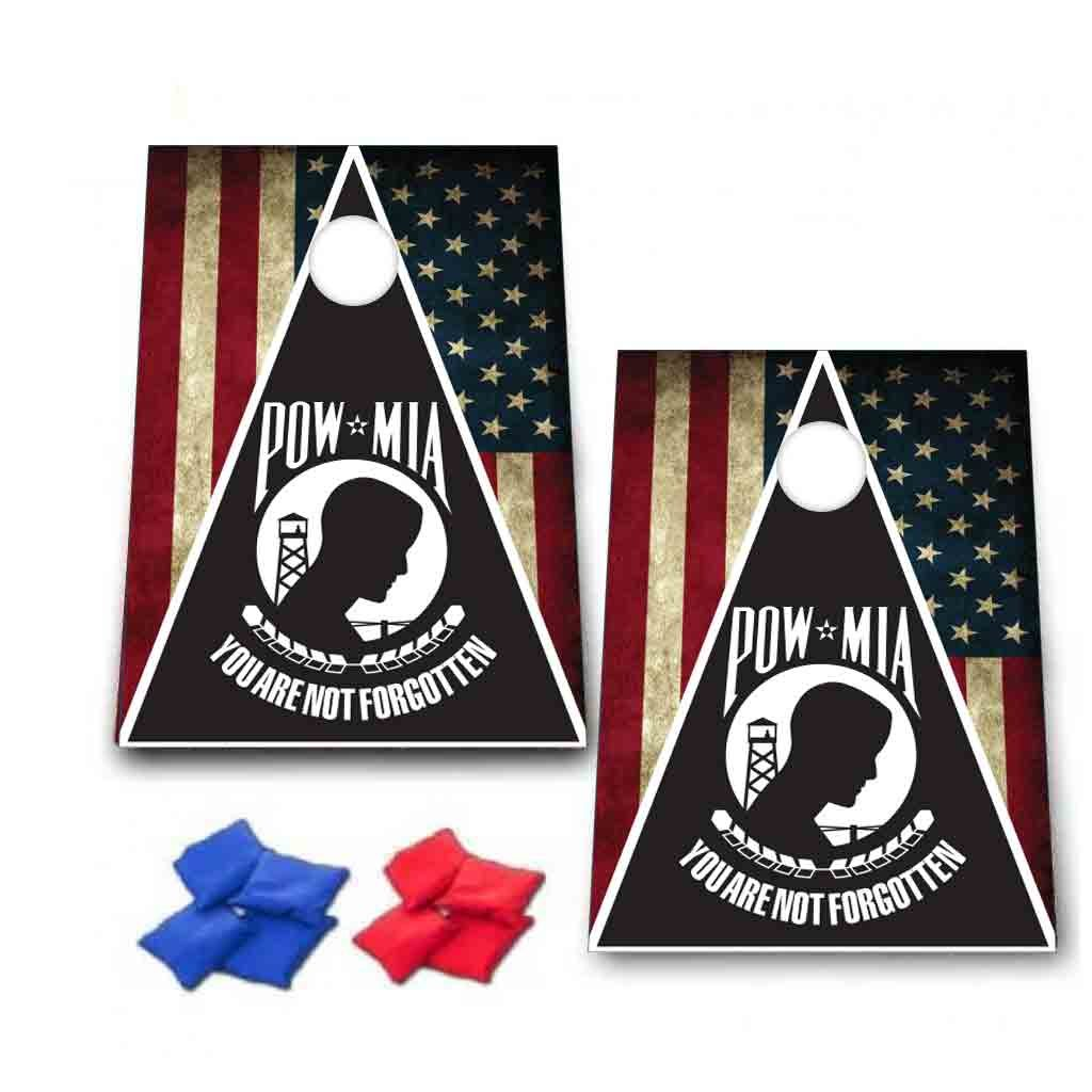 POW MIA You Are Not Forgotten Cornhole Game - Patriotic Bag Toss Game - 8 Bags included - Wooden Boards - Made In The USA
