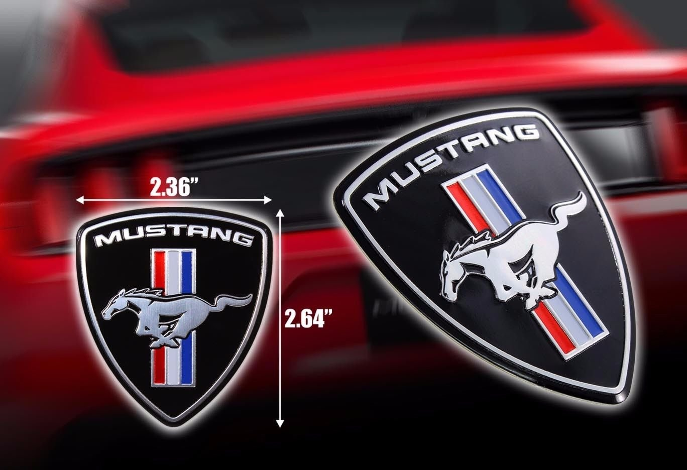 Exotic Store FM-2D Modified Metal Modified Mustang Ferrari Style Hood Fender Badge Emblem Fender Trunk Nameplate not Plastic 2 Pieces