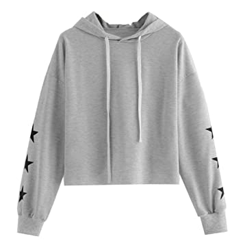 6a3b2ce2fac Amazon.com  Clearance Sale! Hoodies Cropped Tops for Teen Girls Iuhan  Women s 2018 Long Sleeve Star Print Round Neck Hooded Sweatshirt Blouse  Tops (2XL
