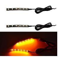 Bandeau lumineux universel LED 5050 pour vélo, moto, ambre, clignotant (lot de 2)