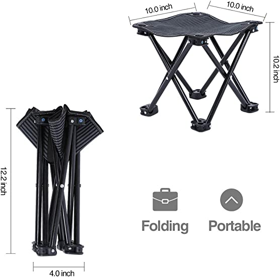 Mini Portable Folding Stool, Outdoor Folding Camping Stool, Picnic, Fishing, Travel, Hiking, Garden, Beach, Quickly-Fold Chair Oxford Cloth with Carry Bag 10 W x 10 D x 10.2 H Black