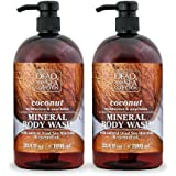 Dead Sea Collection Mineral Body Wash with Coconut Oil Moisturizes and Nourishes Set of 2 (33.8 fl.oz each) total of 67.6 fl.