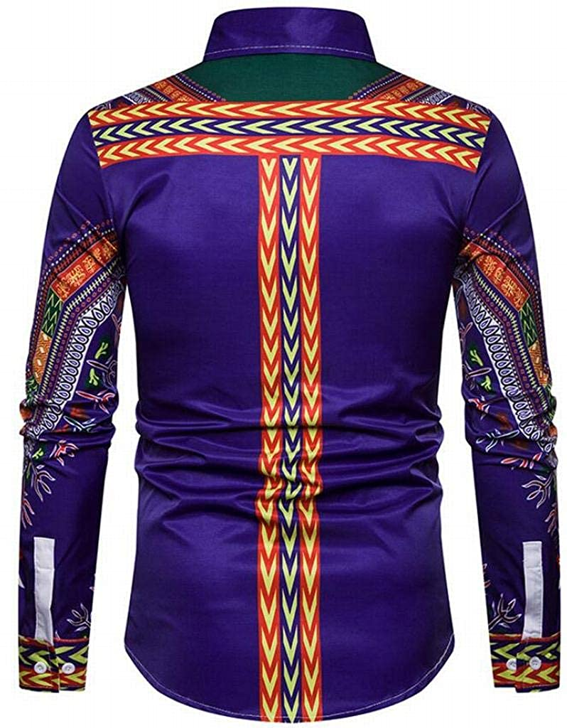 Mstyle Men Long Sleeve African Print Turn Down Collar Vogue Casual Button Down Shirts Tops Blue XS